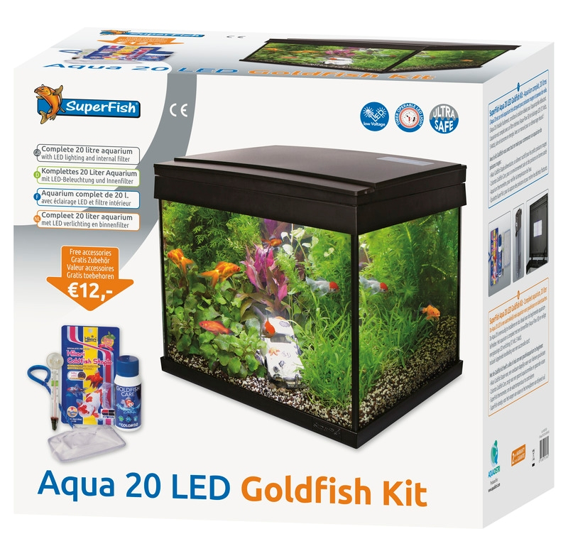 Aquariums superfish sf aqua 20 led goldfish kit pour for Aquarium 20 litres pour poisson rouge